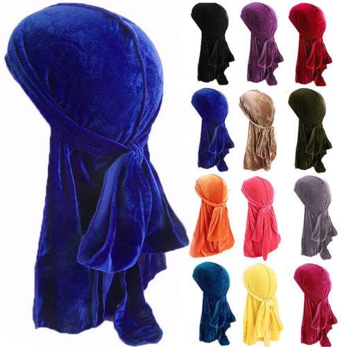 Hot Sales Unisex Men Women Velvet Breathable Bandana Hat Turban Doo Durag Cap
