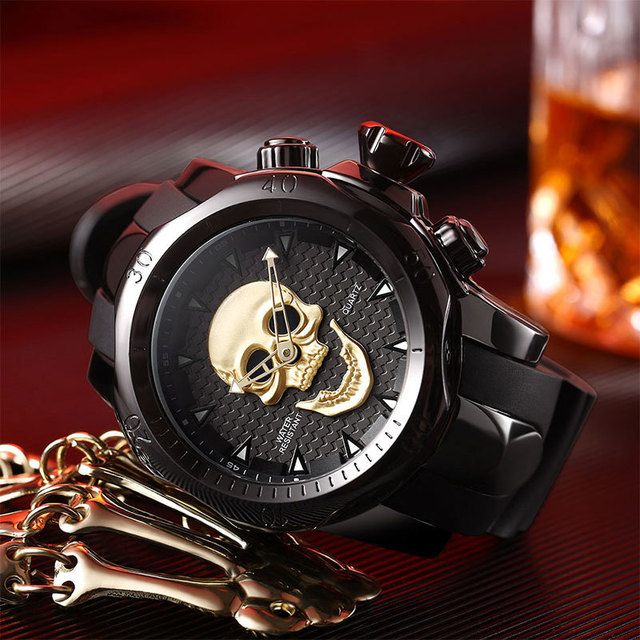 3D SKULL SILICONE WRIST BAND WATCHES (4 VARIAN)