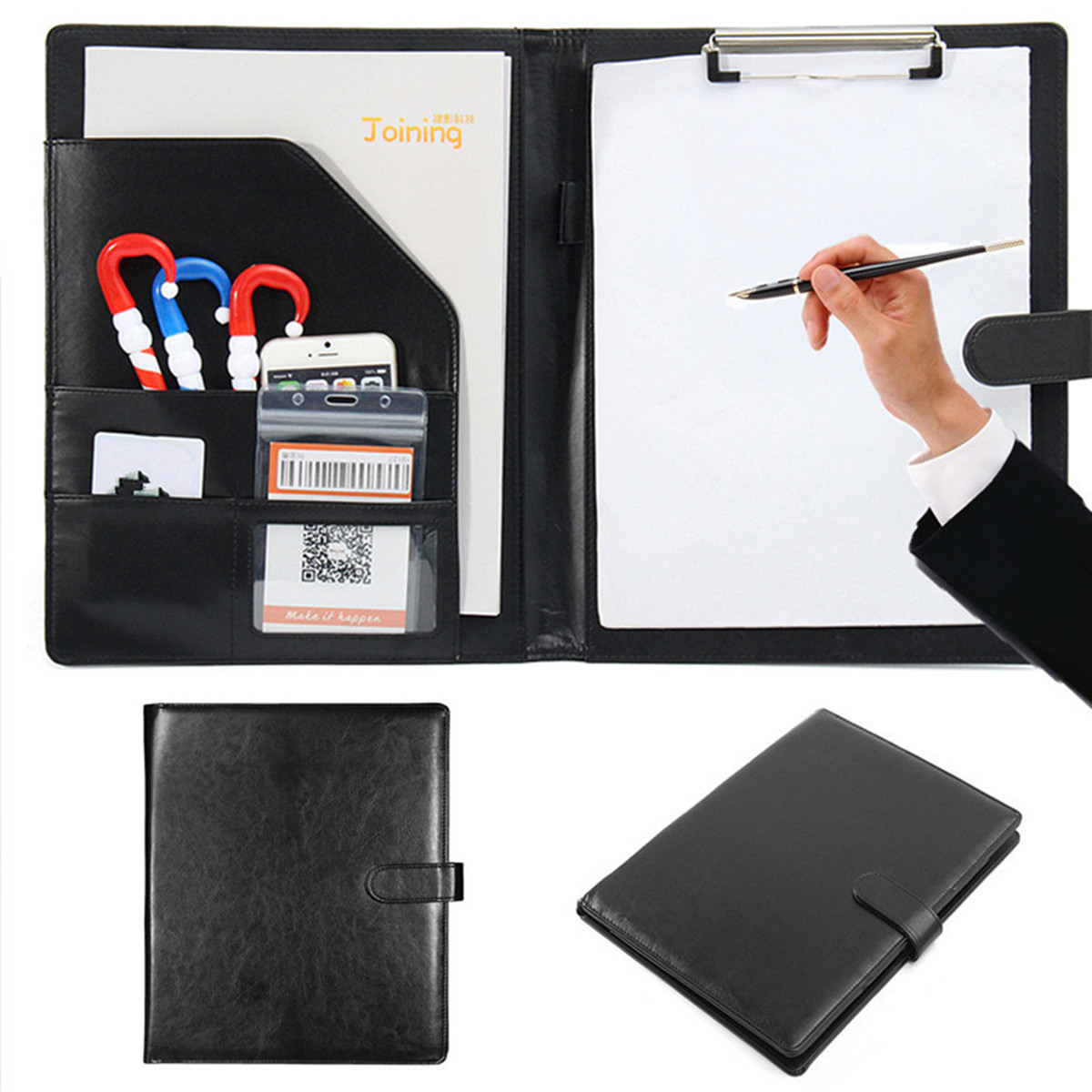 Black A4 Executive Conference Folder Portfolio PU Leather Document Organiser With Calculator