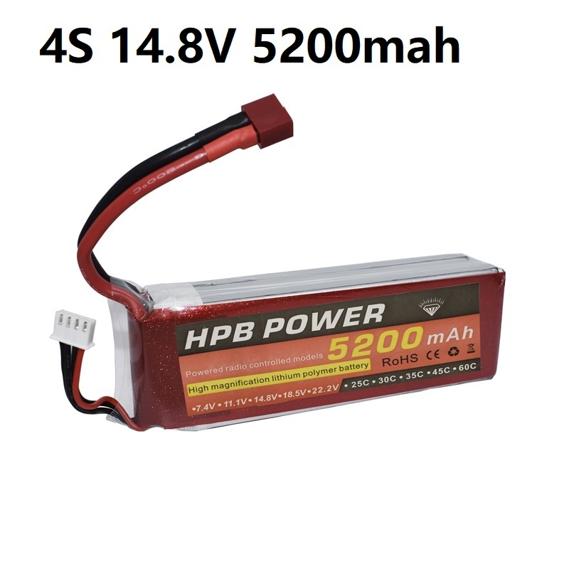 4S <font><b>14.8V</b></font> <font><b>5200mAh</b></font> 35C Lipo Battery 4S LiPo Battery <font><b>14.8V</b></font> Lithium-Polymer Battery For RC Helicopters Car Boat RC Drone Battery HPB image