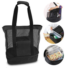 2019 Thermal Insulation Bag Handheld Lunch Insulated Cooler Picnic Mesh Beach Tote Food Drink Storage Blue Black