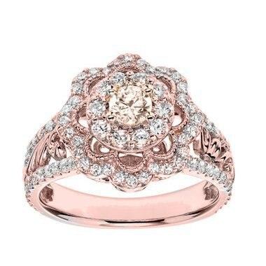 Full Diamond 14K Rose Gold Anillos De Ring Luxurious Flower Jewelry for Women Gemstone Bague Etoile Bizuteria for Wedding Female