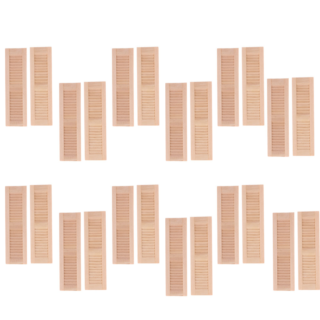 24pcs Unpainted 1//12 Wood Shutters Doll House DIY Window Furniture Room Item