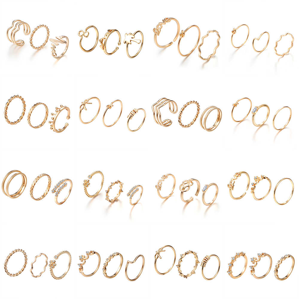 Cxwind Bohemian Toe Ring Gold Charm Crystal Joint Knuckle Rings Sets for Women Finger Band Jewelry anillos wholesale lots bulk