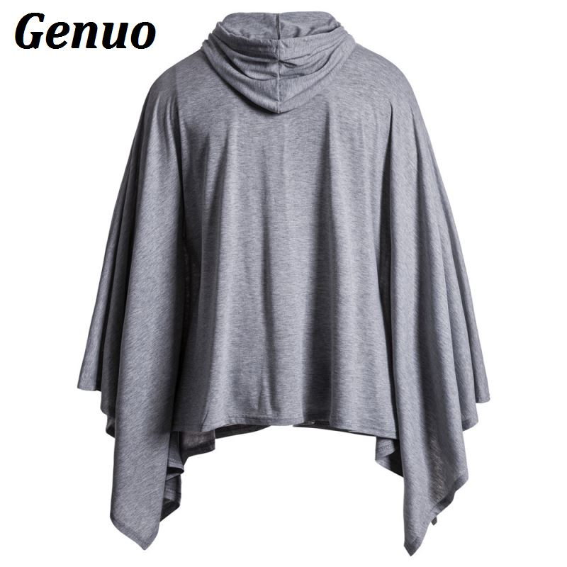 Genuo Casual Hip Hop Men Cape Coat Hoodies Irregular Hem Hooded Sweatshirt Poncho Coat Cloak Male Hoody Jackets Plus Size 2XL in Hoodies amp Sweatshirts from Men 39 s Clothing