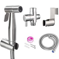 Hand Held Bidet Sprayer for Bathroom Toilet Brushed Stainless Steel Diaper Sprayer Shattaf Complete Set Hose High Pressure