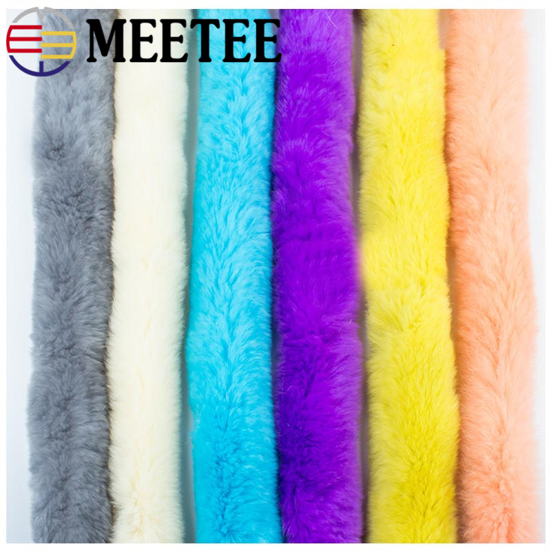 2Meters Meetee 6cm Artificial Rabbit Fur Ribbon Trim Tapes DIY Handmade Down Jacket Decor Sewing Bags Clothing Accessories Craft