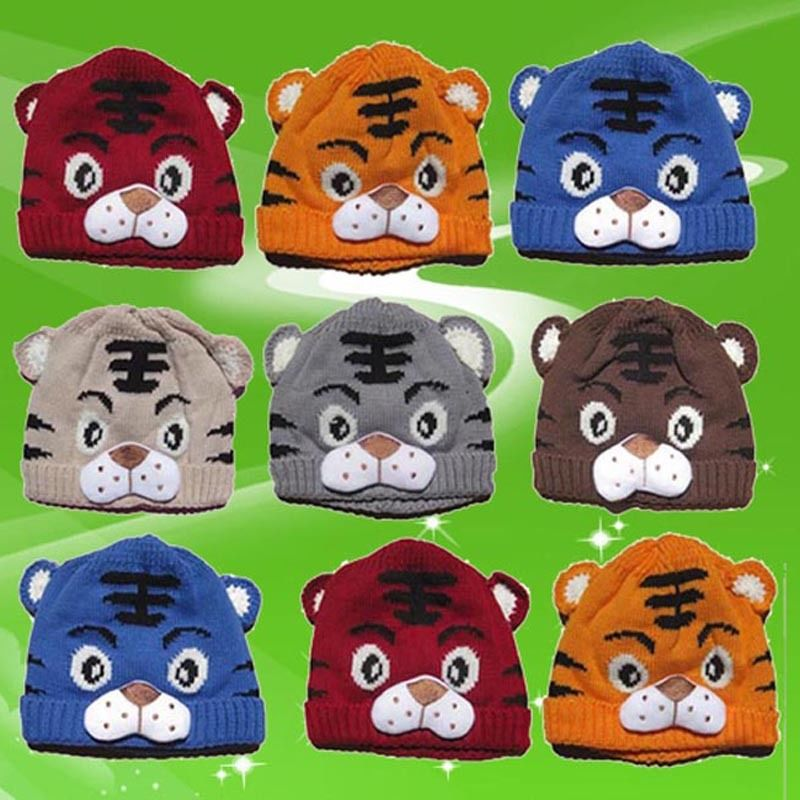 1pcs Baby Girls Boys Kids Toddlers Crochet Knit   Skullies     Beanies   Cute Tiger Cartoon Print Hat Cap   Beanie   Bonnet