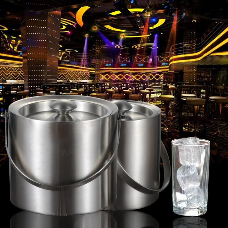 1PC 2L/3L Stainless Steel Insulation Bilayer Ice Bucket Wine Cold Barrel Wine Utensils Ice Buckets With Lid And Portable Handle1PC 2L/3L Stainless Steel Insulation Bilayer Ice Bucket Wine Cold Barrel Wine Utensils Ice Buckets With Lid And Portable Handle