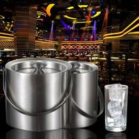 1PC 2L/3L Stainless Steel Insulation Bilayer Ice Bucket Wine Cold Barrel Wine Utensils Ice Buckets With Lid And Portable Handle
