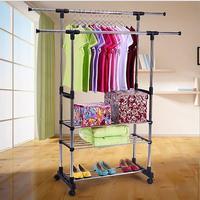 96dd7578dfb2b Double Folding Metal Coat Rack Clothes Rail Hanging Garment Dress Coat  Storage Shelf With Wheels Simple