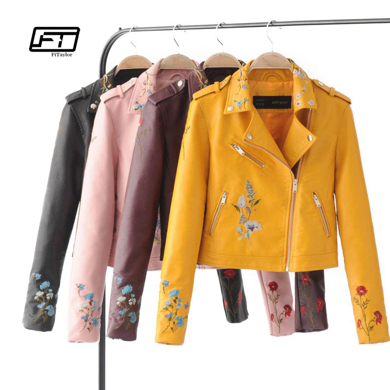 Fitaylor Autumn Biker Jacket Women Embroidered Bomber Faux Leather Jacket Floral Print Pink Black Motorcycle Leather Jacket Куртка
