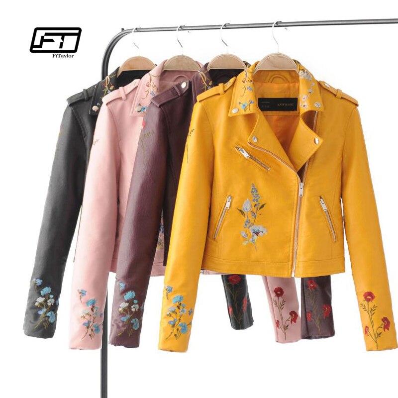 Fitaylor otoño chaqueta de motorista bordado de las mujeres chaqueta - Ropa de mujer