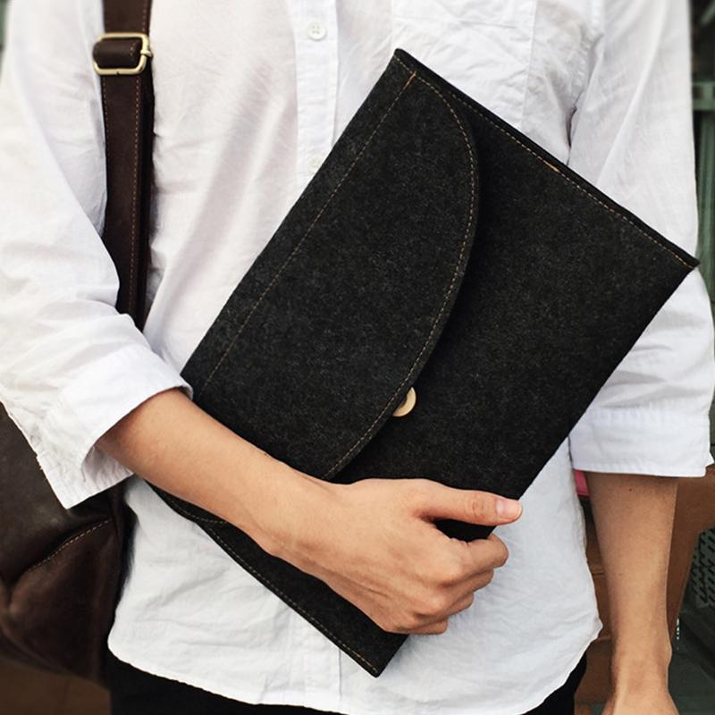 Simple A4 Felt Document Bag Big Capacity File Package Stationery Business Briefcase File Folders Office Student Computer Bags
