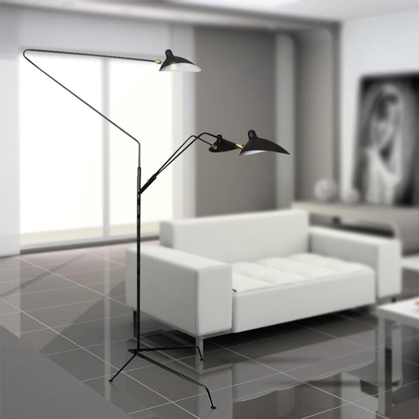 Image 2 - Modern Replica Design Black Floor Lamp Mantis Arm Floor Standing Lamp Nordic Loft Industrial Bedroom Decorate Standing Lamp-in Floor Lamps from Lights & Lighting