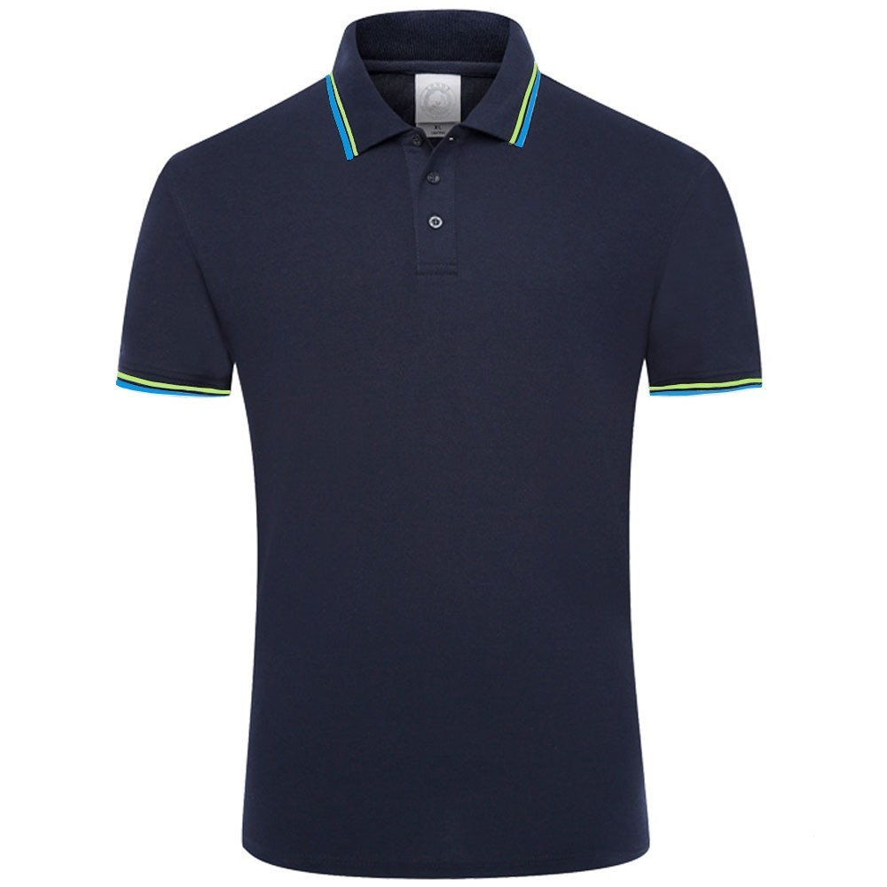 Domple Mens Casual Lapel Solid Short Sleeve Lace Up Loose Work Polo Shirt