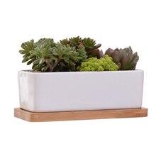 1 Set Minimalist Rectangle White Ceramic Succulent Plant Pot Porcelain Desktop Flower Pot Home Decor (1 x Pot + 1 x Tray)