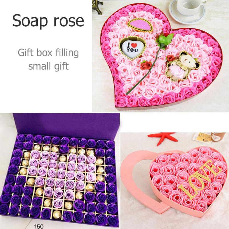 Rose Soap Flower Petal With DIY Gift Box Wedding Valentines Day Decor Gifts Bouquet Home Decoration Hand Flower Art