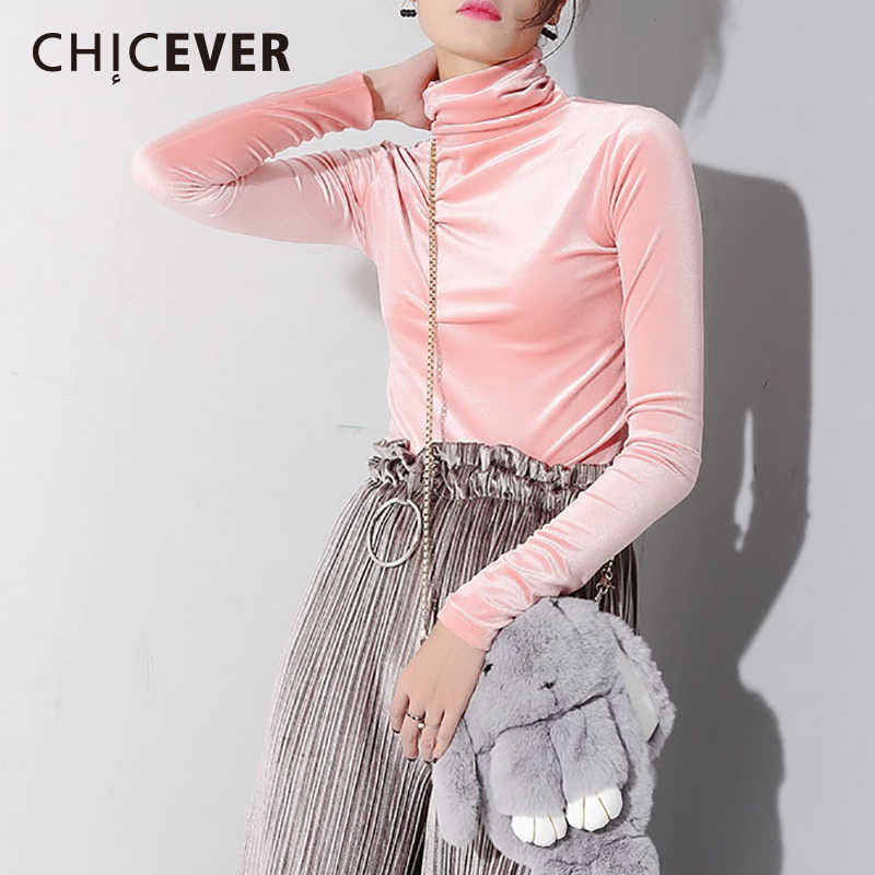CHICEVER Winter Plus Velvet Female T shirt For Women Top Long Sleeve High Collar Pullovers Slim T shirts Clothes Fashion Korean