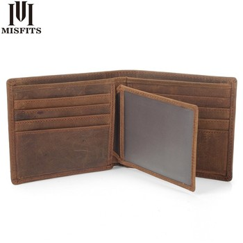 MISFITS NEW Vintage Cowhide Mens Wallet Genuine Crazy Horse Leather Man Purse Brand Male Credit&id Multifunctional Brown Wallets a2015 brand new crazy horse genuine leather