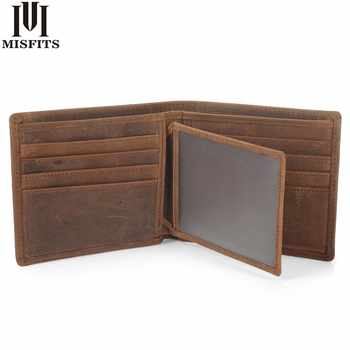 MISFITS NEW Vintage Cowhide Mens Wallet Genuine Crazy Horse Leather Man Purse Brand Male Credit&id Multifunctional Brown Wallets - DISCOUNT ITEM  47% OFF All Category
