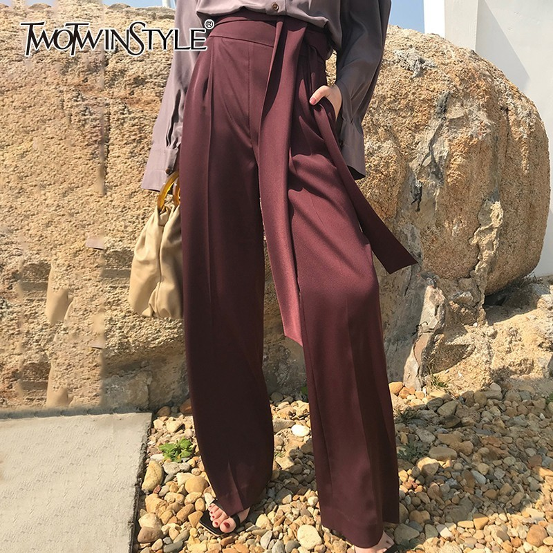 TWOTWINSTYLE Vintage Bandage Women Pants High Waist Solid Big Size Long Trousers Female Spring 2019 Fashion