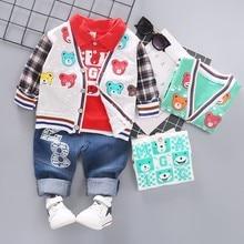 купить 2019 New Spring Infant Clothing Girl Boy Casual Clothes Baby Cartoon Coat T Shirt Jeans 3pcs/Set Kid Child Fashion Leisure Suits по цене 805.02 рублей