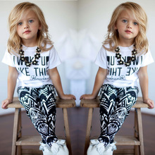 Childrens clothing summer 2019 new girls suit letter short-sleeved t-shirt + geometric print pants two-piece