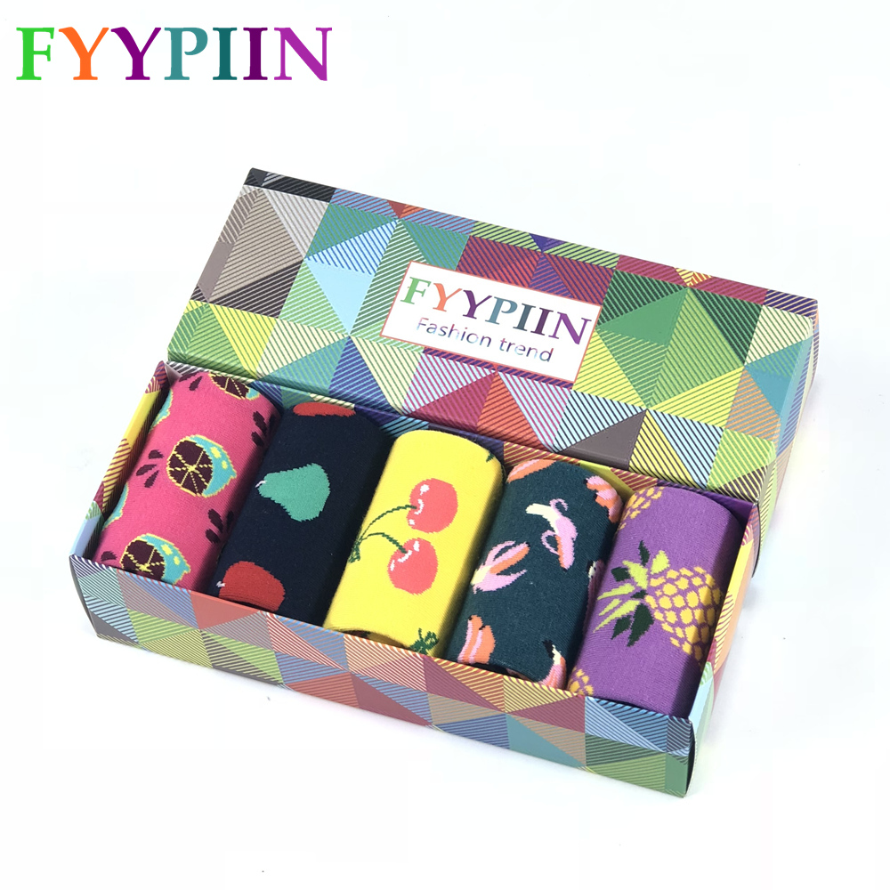 Men's Socks Time-limited Standard Casual Colorful Fashion 2019 New Socks Gift Boxes Comb Cotton Fruit Funny Happy Men Gift Socks