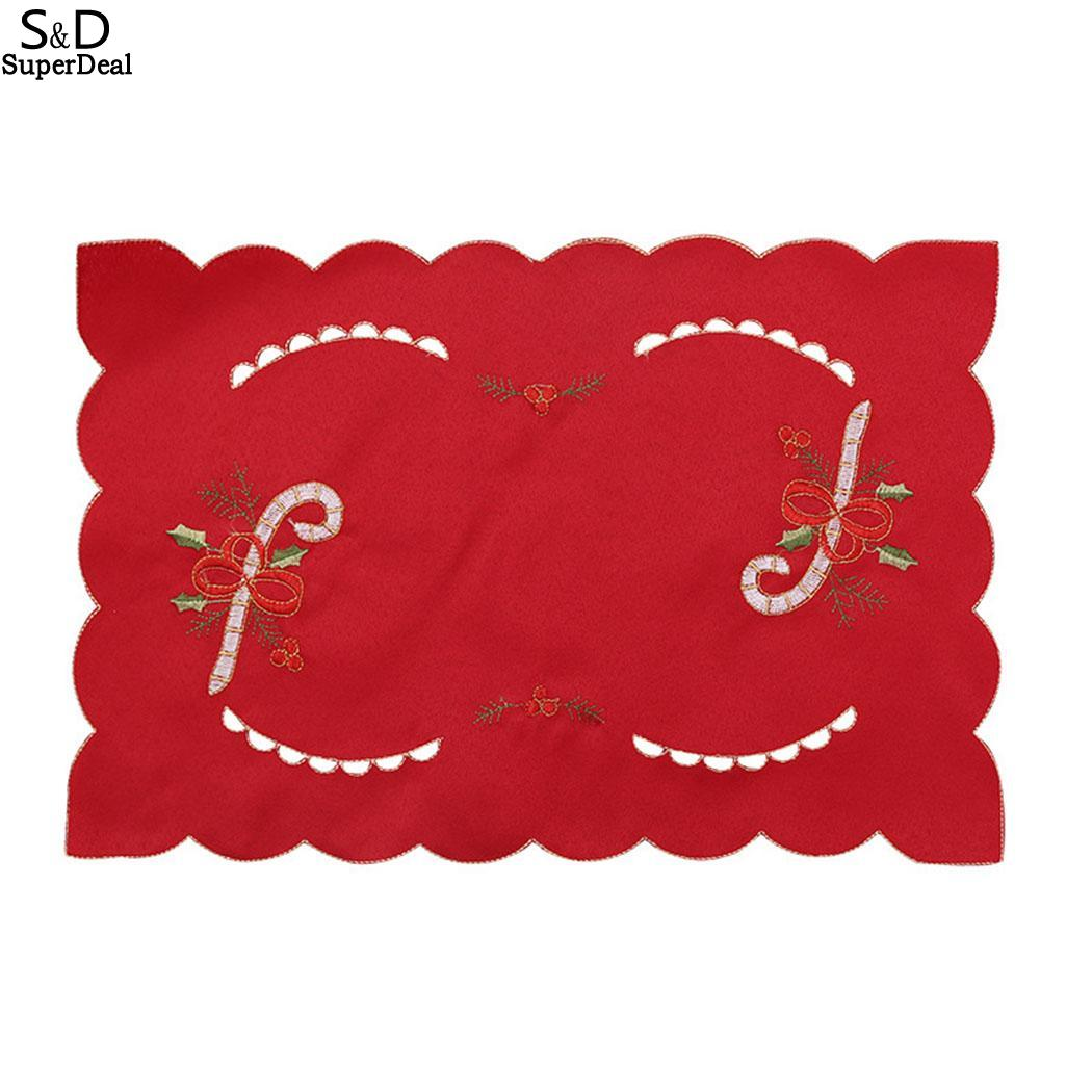 1pc Christmas embroidered hollow table mats placemats napkins decor cover FE