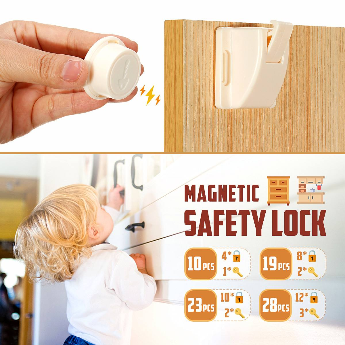 4/8/10/12pcs Magnetic Cabinet Drawer Cupboard Locks For Child Kid Baby Safety Lock Pet Proof