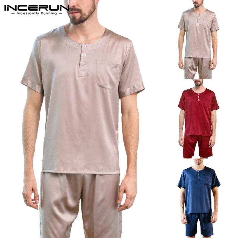 INCERUN Pajamas-Set Underwear Satin Sleepwear-Set Shorts Nightgown Silk Male Summer Soft