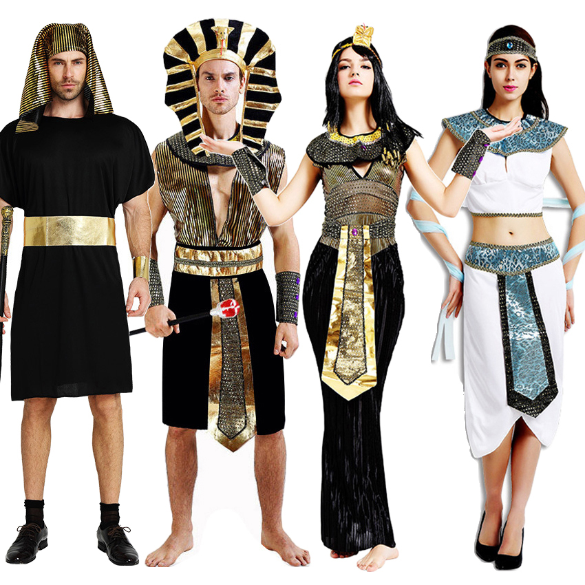 Purim Carnival Ancient Egypt Pharaoh Cosplay <font><b>Costumes</b></font> Woman Cleopatra <font><b>Sexy</b></font> Dress Man Meideval Priest Clothing <font><b>Halloween</b></font> Wear image