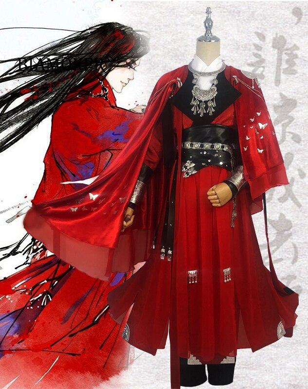 Desperate ghost king Hua cheng Cosplay Tian guan ci fu Black Long Cosplay Costmes with cloak