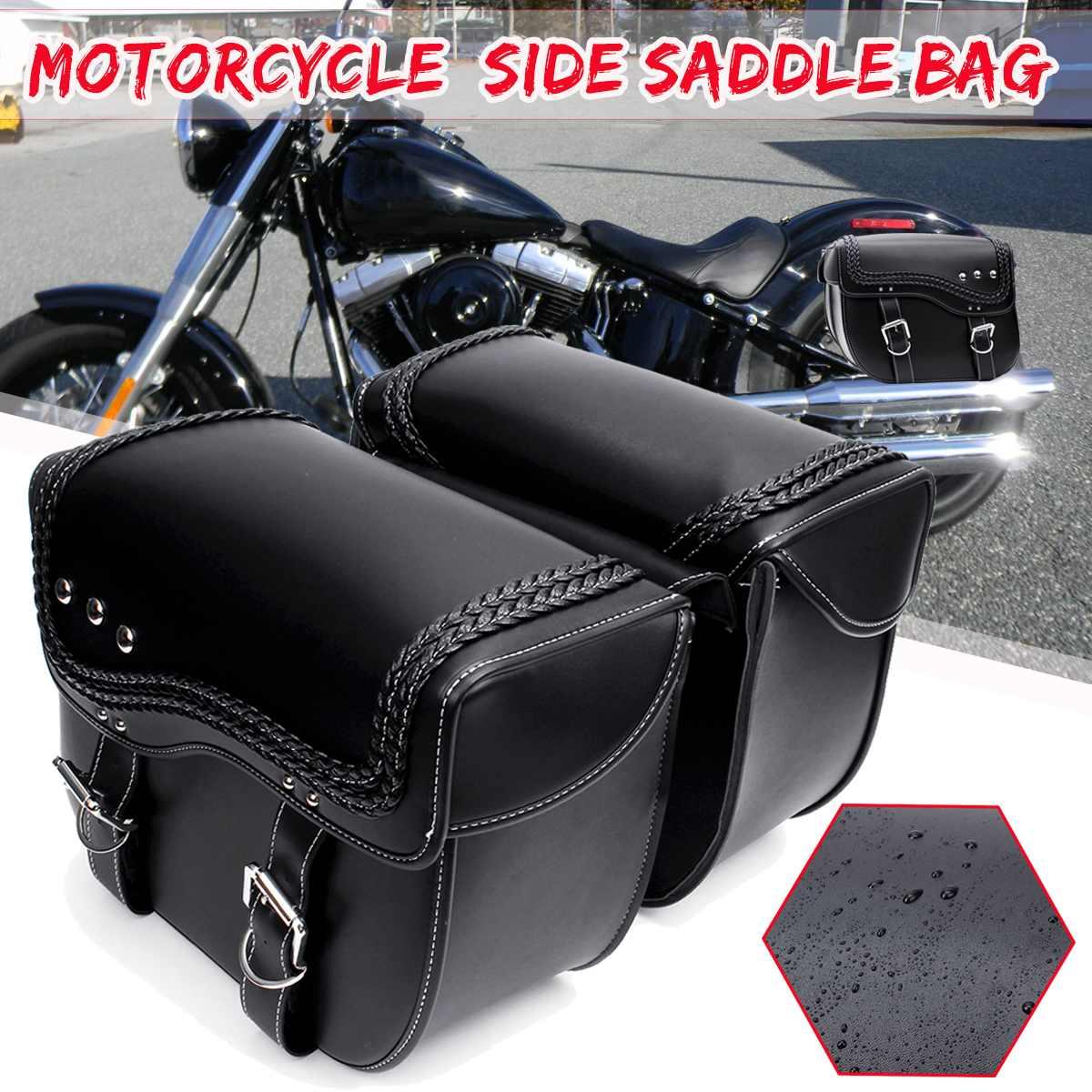 Par Universal Moto Alforje Lateral de Couro PU De Armazenamento Ferramenta Saco Da Bagagem Para Harley/Suzuki/Yamaha/Honda