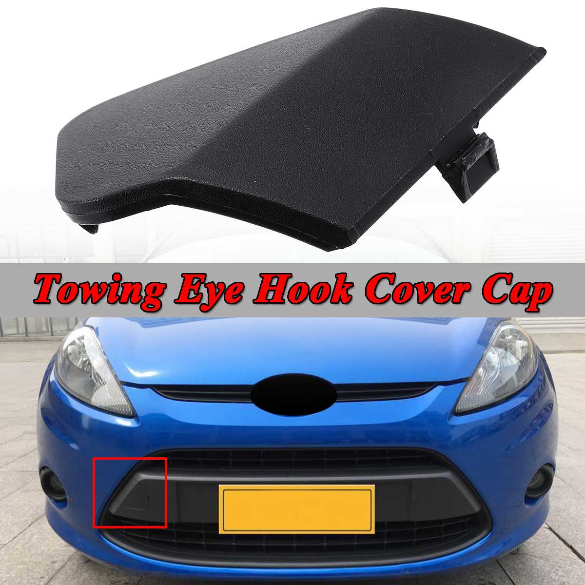 Front Bumper Towing Eye Cover Black Ford Fiesta Mk7 2008-2012 New High Quality
