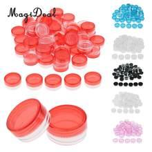 50 partes 3g plástico pote cosmético frascos loção creme amostra recipiente vazio recarregáveis com tampas
