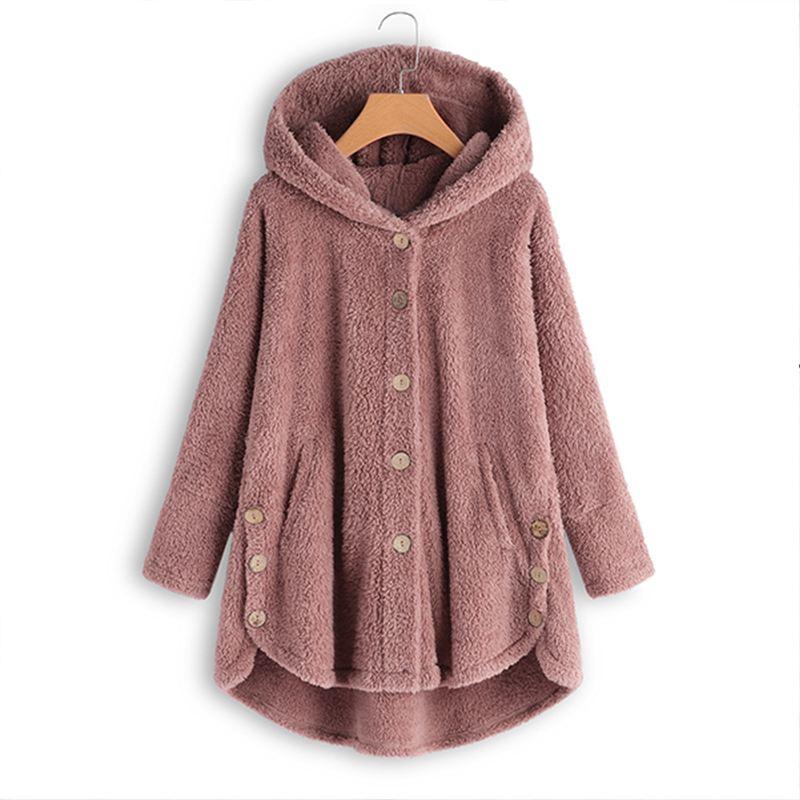 Winter Warm Fluffy Coats Women Button Autumn Jackets Female Casual Long Sleeve Hooded Outwear Split Hem Overcoat Plus Size Tops