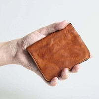 Handmade retro wallet carteira feminina women wallets zip purse masculina men wallets leather brand short small cards holder
