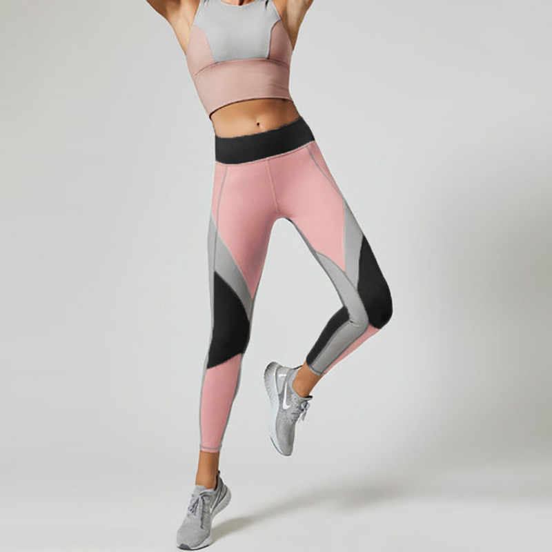 パッチワークフィットネススポーツレギンス女性固体弾性レギンス通気性ヨガパンツ女性のランニングトレーニングエネルギータイツ