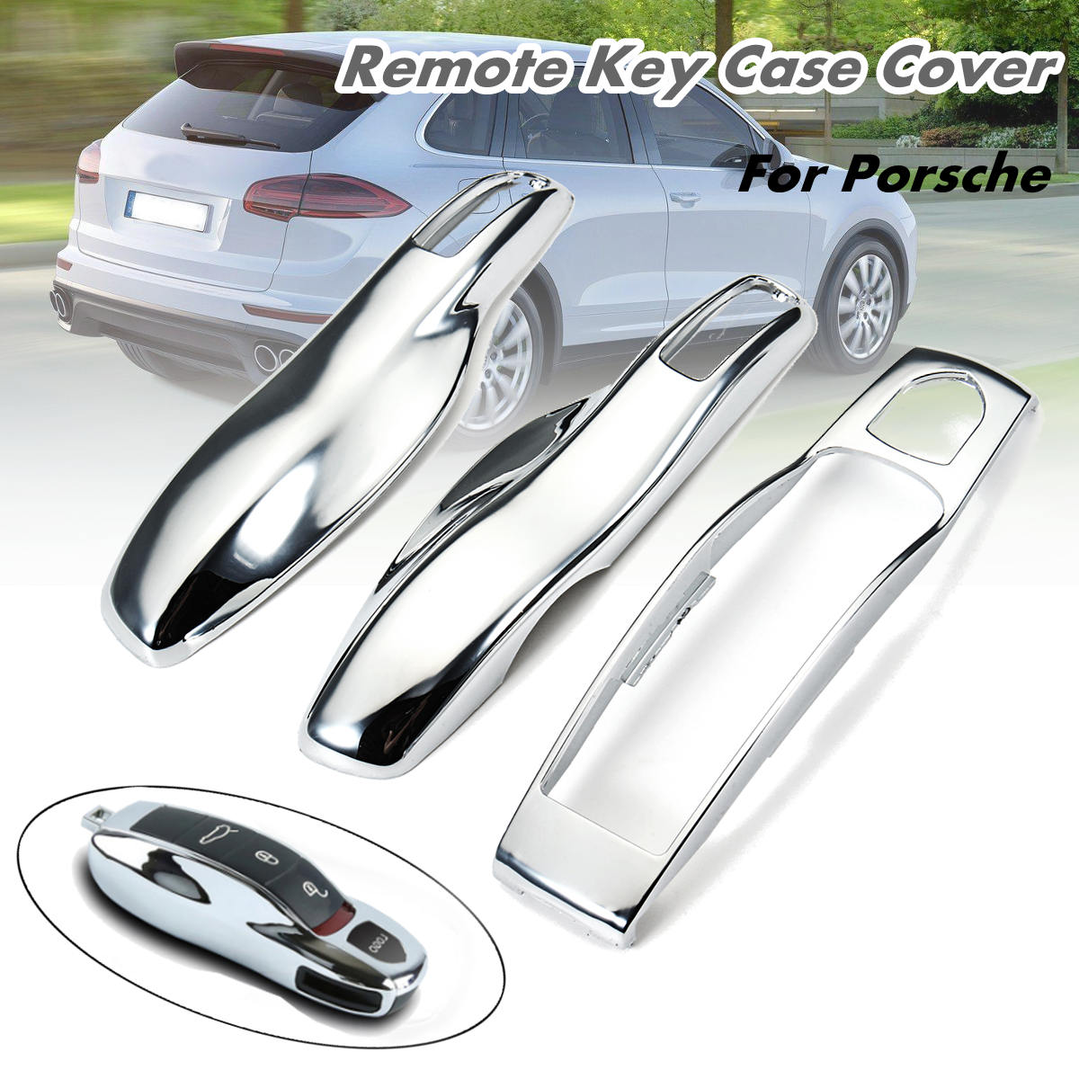 3Pcs set Car Remote Fob Key Case Cover Mirror Chrome Key Shell Replace for Porsche Boxster Cayman 911 for Panamera Cayenne Macan