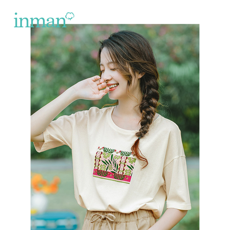 INMAN 2019 Summer New Arrival O-neck Literary Embroidery Korean Casual Student Loose Short Sleeves Women T-Shirt