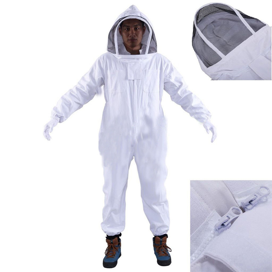 Full Body Beeking Suit Professional Bee Protection Clothing Veil Halt Gloves Hat Beekeeping Equipment High Quality 3 in Protective Clothing from Home Garden