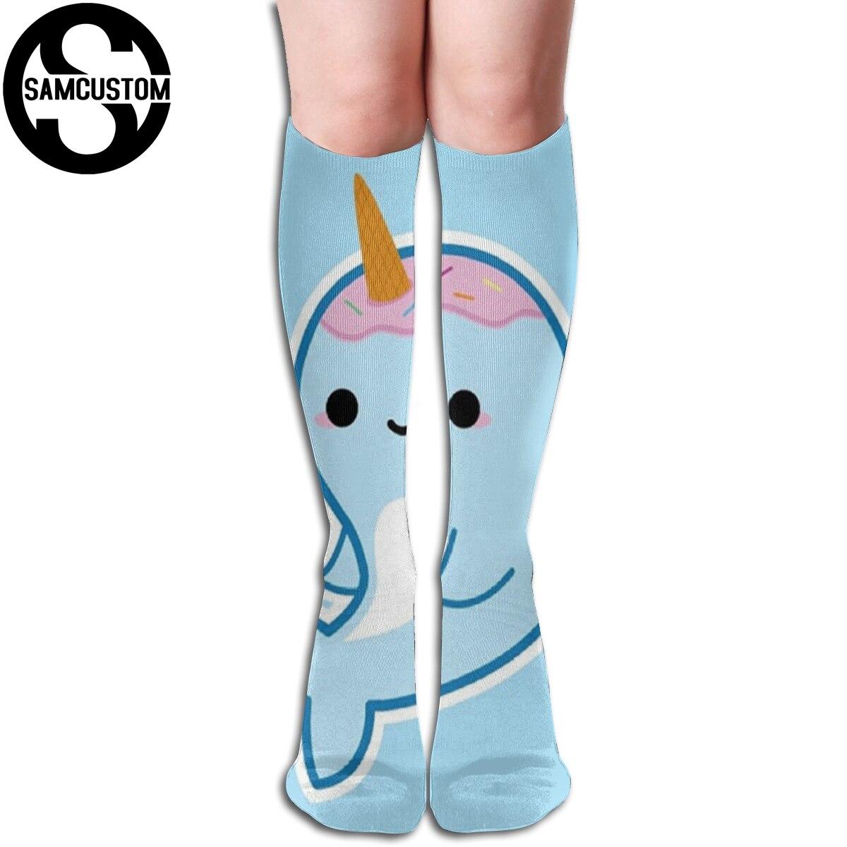 Women's Socks & Hosiery Stockings Samcustom Personalized Custom Narwhal In The Sea 3d Printing Female Kawaii Knee Socks Fashion Girl Cute Stockings Strong Packing