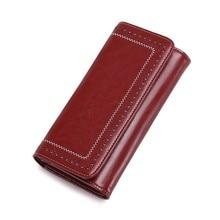 Купить с кэшбэком Trend Genuine Leather Wallet Women Wallets Long Zipper Coin Purse Money Pocket Female Clutch Bags Card Holder Carteira Feminina
