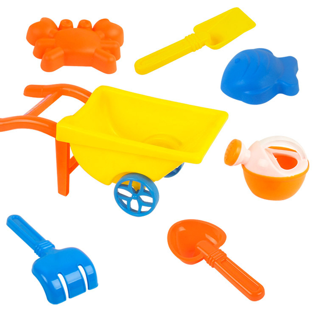 7Pcs Beach Sand Toy Set With Trolley Kettle Mold Shovel Rake For Children Kids Baby Sea Water Fun Sports Bathroom - Large Size