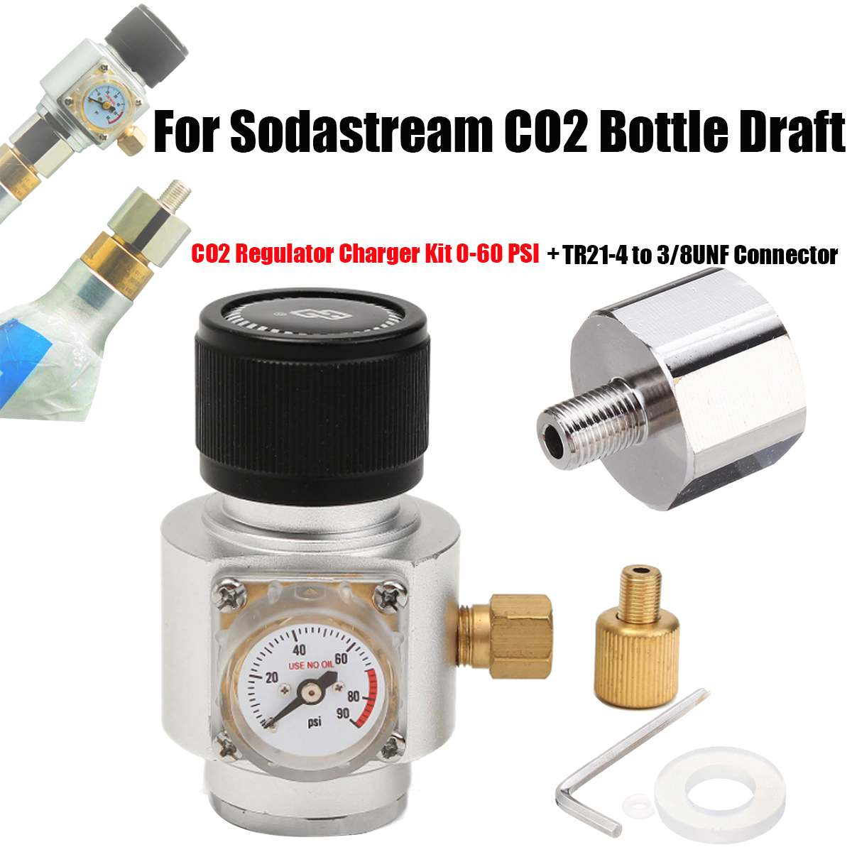 Regulated CO2 Charger  CO2 Charger Regulators With Adapter Kit 0-60 PSI For Soda Stream Cylinder Draft HomeRegulated CO2 Charger  CO2 Charger Regulators With Adapter Kit 0-60 PSI For Soda Stream Cylinder Draft Home