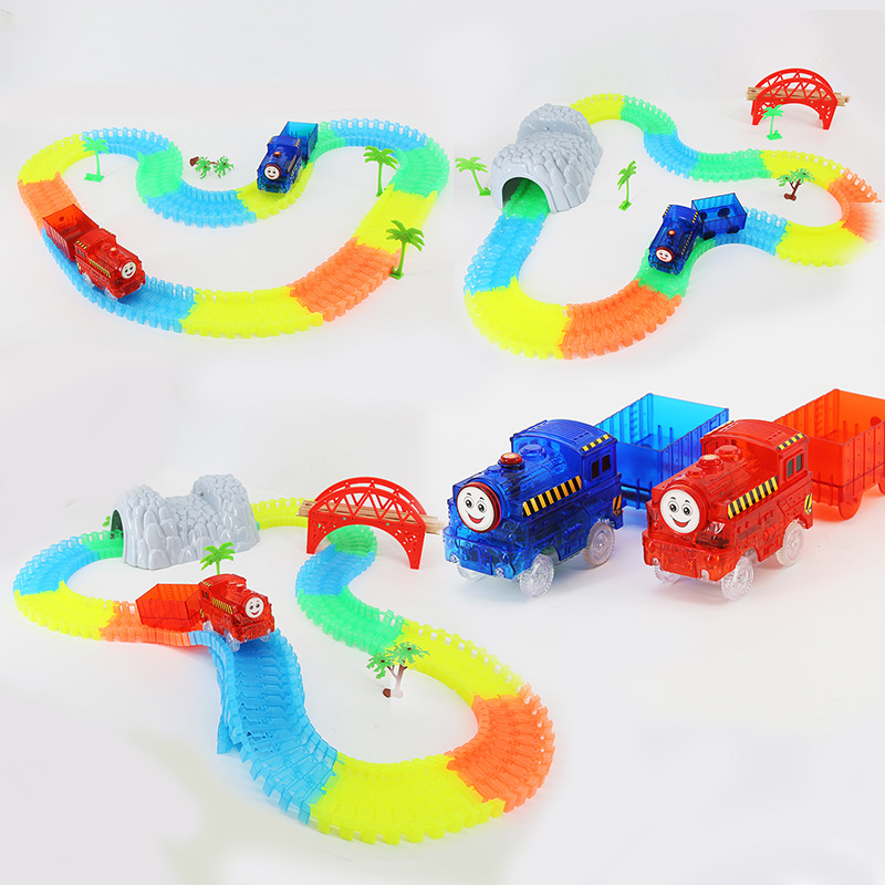 1pc Plastic Tunnel For Magic Glowing Tracks Rail Car Accessories DIY Assembly Cave Toys Set Children's Toys For Boys
