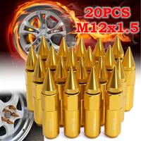 20Pcs Aluminum M12X1.5mm Car Wheels Locking Rims Lug Nuts Bolts Spiked 60mm Extended Tuner Gold