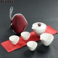 휴대용 야외 여행 커피 차 세트 teaware 저장 가방 찻 주전자 찻잔 중국 쿵푸 차 세트 주전자 커피 선물